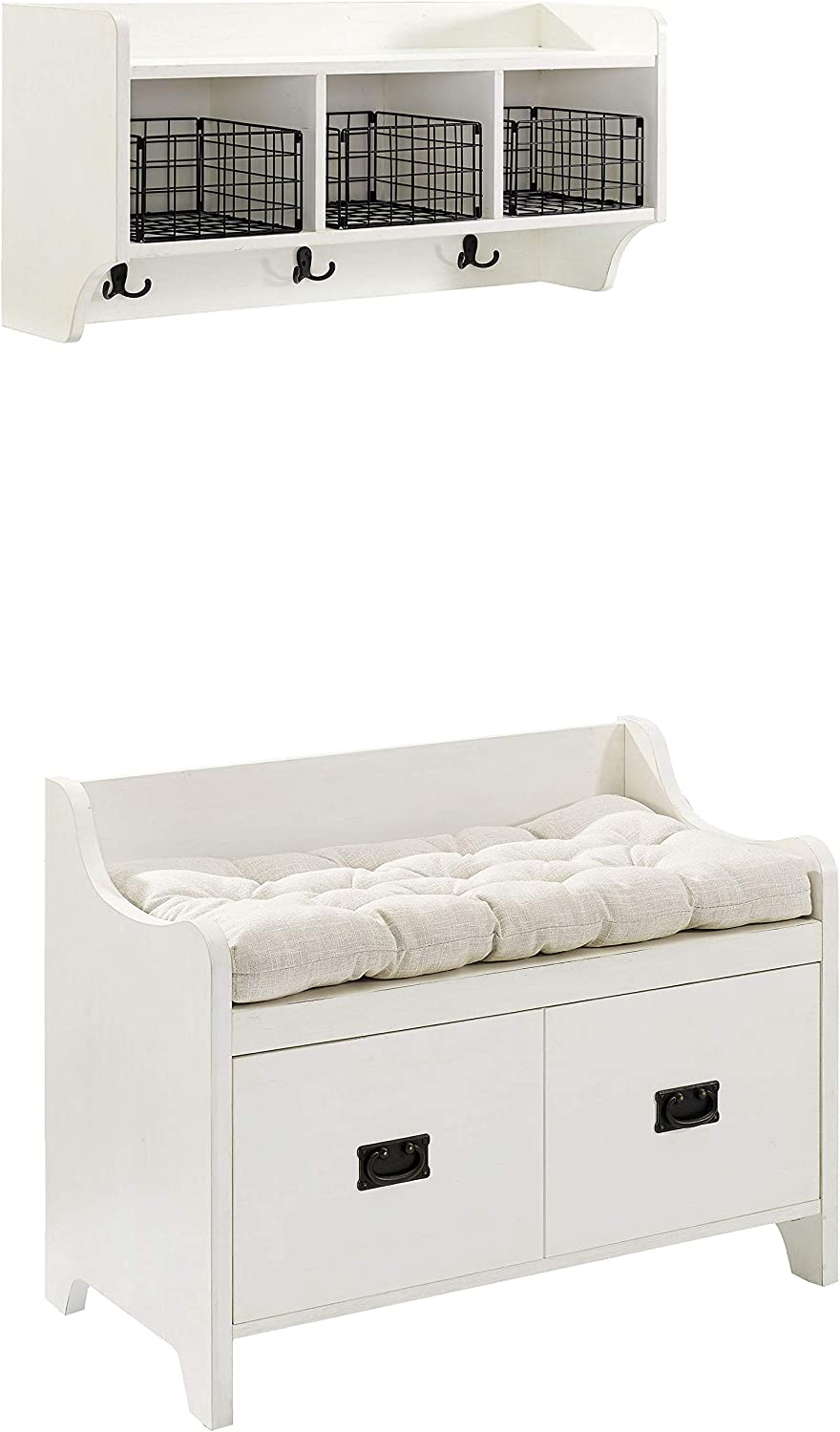 Crosley Furniture Fremont Entryway Kit with Shelf and Storage Bench, Distressed White