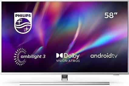 Philips Ambilight 58PUS8505/12 - Televisor Smart TV de 58 Pulgadas (4K UHD, P5 Picture Engine, Dolby Vision, Dolby Atmos, Control de Voz, Android TV), Color Plata Claro (Modelo de 2020/2021): Amazon.es: Electrónica