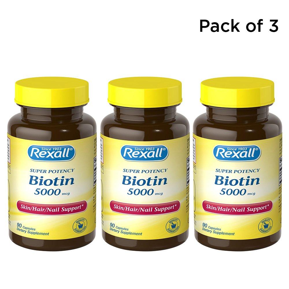 Rexall Biotin 5000 mcg – Capsules – 90 ct. Pack of 3