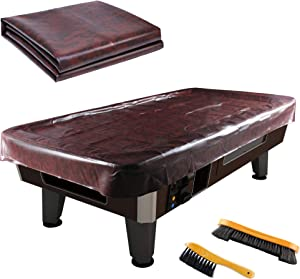 Leather Pool Table Cover - Billiards Pool Table Accessories Set, Premium Leather Cover & 2 Rail Brush Set, Billiard Table Cover and Brush Kit ,Pool Table Cover for 7Ft/ 8Ft/ 9Ft (9Ft)