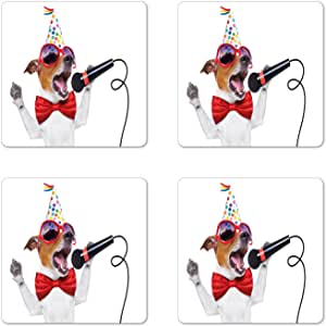 Amazon.com | Ambesonne Popstar Party Coaster Set of 4