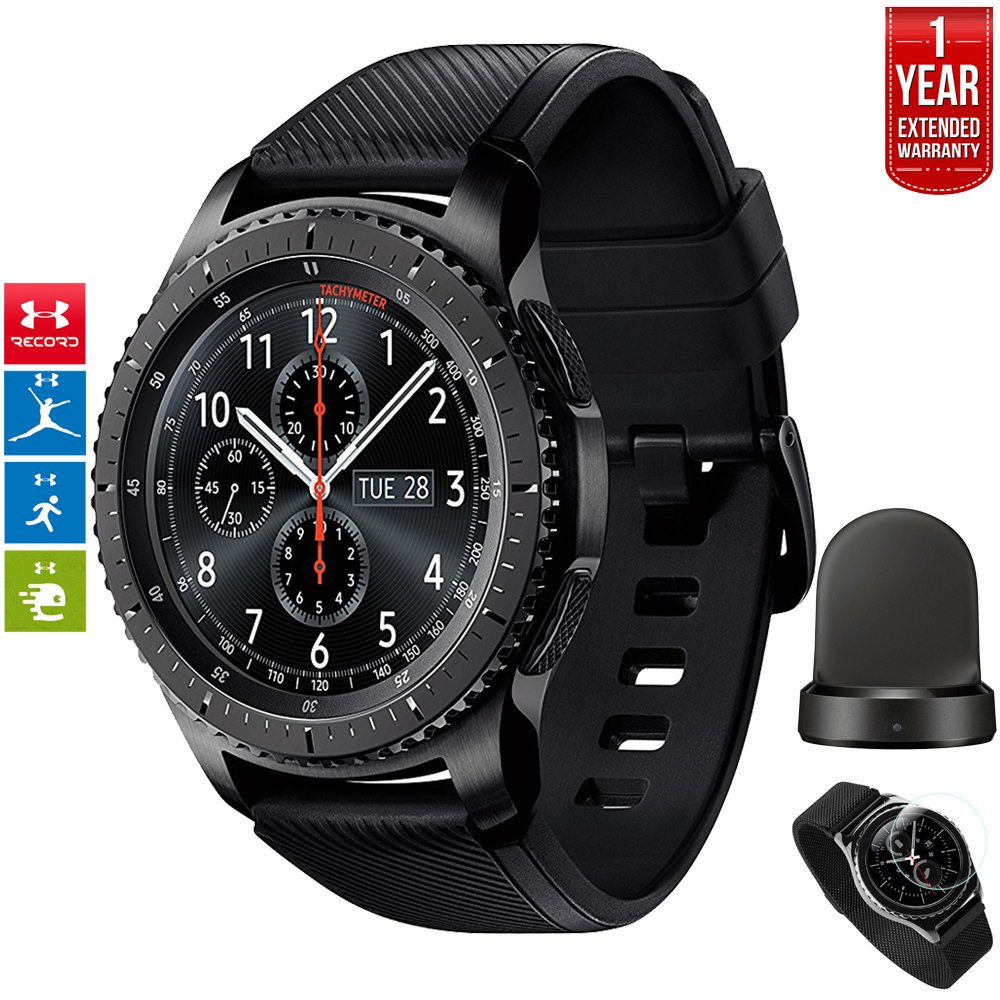 Samsung Gear S3 Bluetooth Watch with Built-in GPS with Wireless Charger Bundle + Silver Wrist Band + 1 Year Extended Warranty (S3 Frontier Bundle)