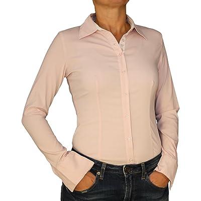 6011 dames Chemisier stretch Chemisier Corps Blouse du corps à manches longues de couleur unie bleu blanc rose S M L XL.