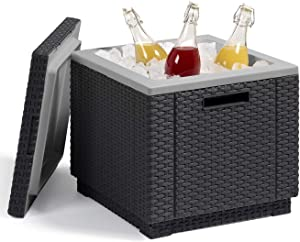 KETER Ice Cube Beer and Wine Cooler Table Perfect for Your Patio, Picnic, and Beach Accessories, Graphite