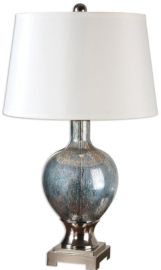 Amazon Com Designer Blue Mercury Glass Table Lamp Home Kitchen