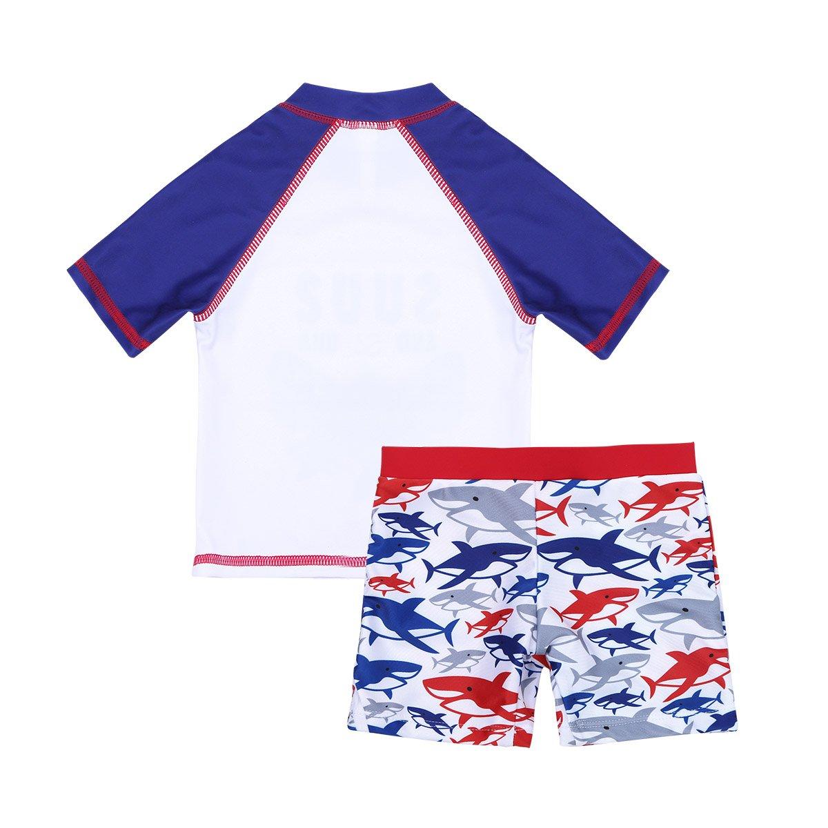 iiniim Kids Boys Swimsuit Rash Guard Top with Swim Shorts Trunks Swimming Costume Swimwear Suit 2Pcs//Set