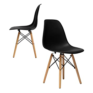 Set Of 2   Chelsea Eames DSW (Wood Legs) Molded Plastic Dining Side Chairs