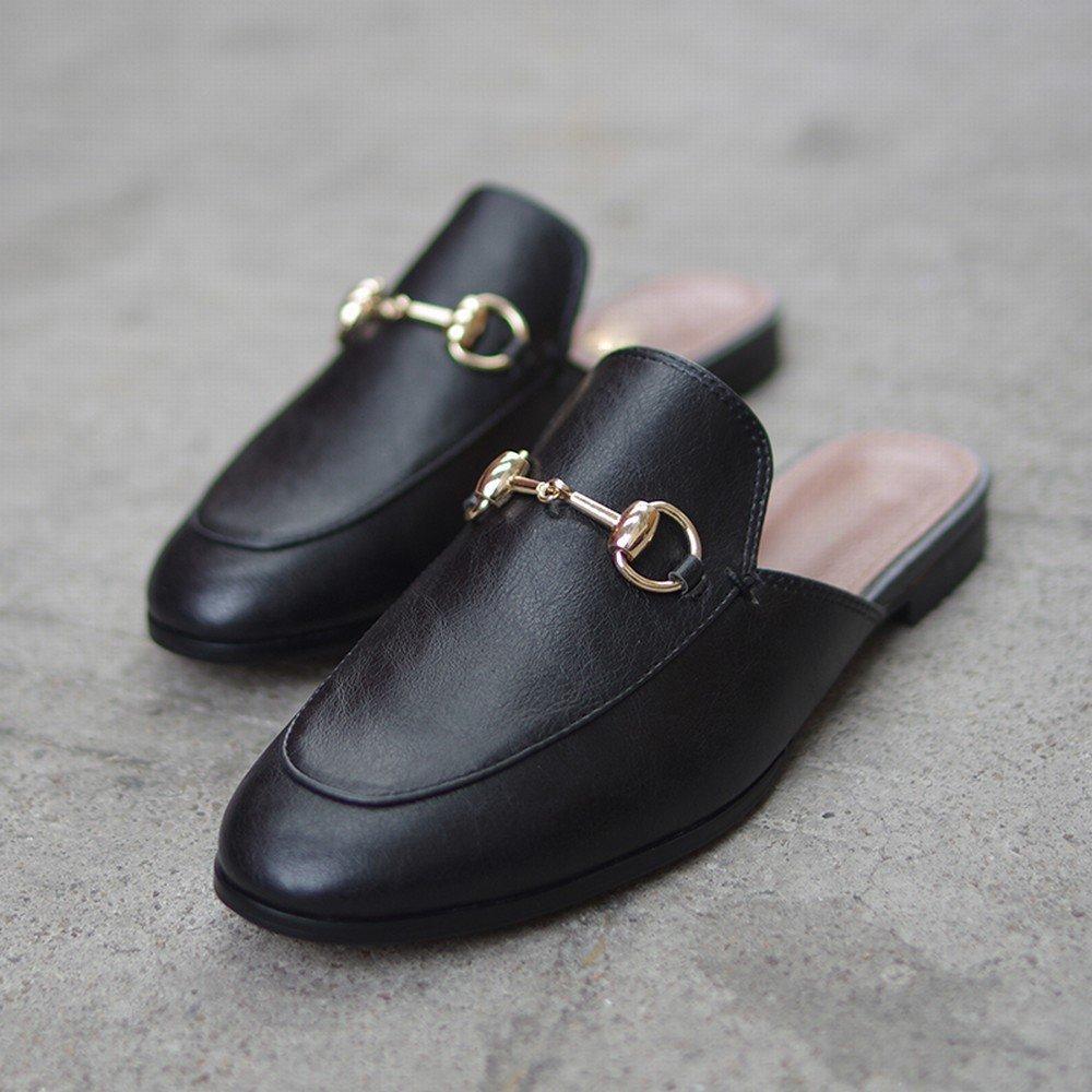 DIDIDD Flache Schuhe,Schwarz,40 Schuhe Tragen Faule Sandalen Muler Schuhe,Schwarz,40 Flache - 35852b