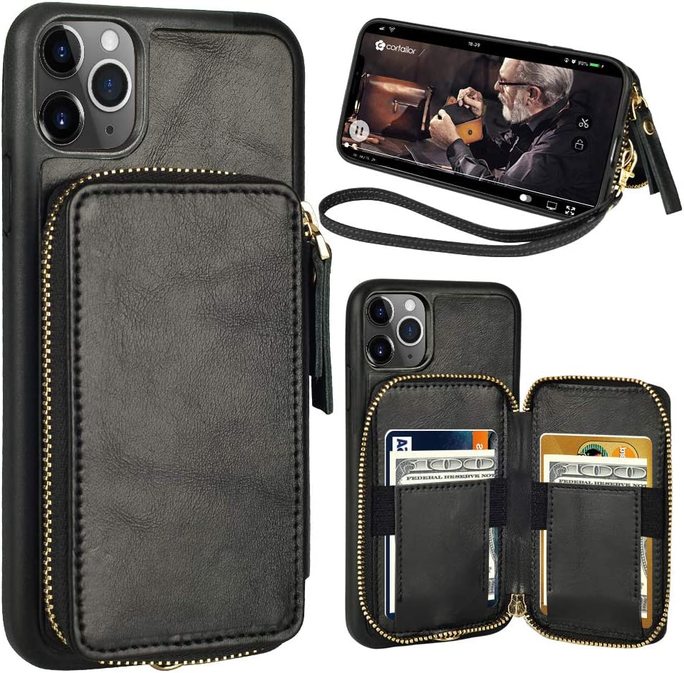 Brown iPhone Xs Max Wallet Case,Zttopo 2 in 1 Leather Zipper Detachable Magnetic 11 Card Slots Card Slots Money Pocket Clutch Cover with Screen Protector for 6.5 Inch iPhone Case