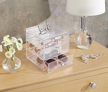 InterDesign Drawers Caja para guardar gafas | Caja organizadora apilable para gafas, gafas de lectura