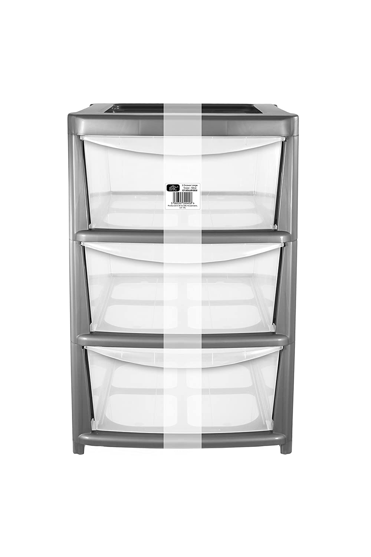 EHC-Mobiletto con 3 cassetti, misura grande, in plastica, da donna, colore: argento Elitehousewares E7-3DLARGESI