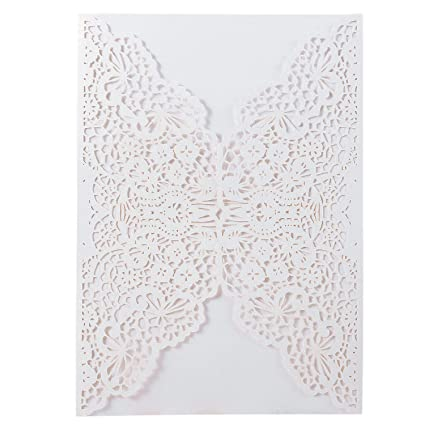 20pcs Elegant Wedding Invitation Cards Cover Laser Cut Flower Lace Template Cardstock For Bridal Baby Shower Engagement Birthday Party