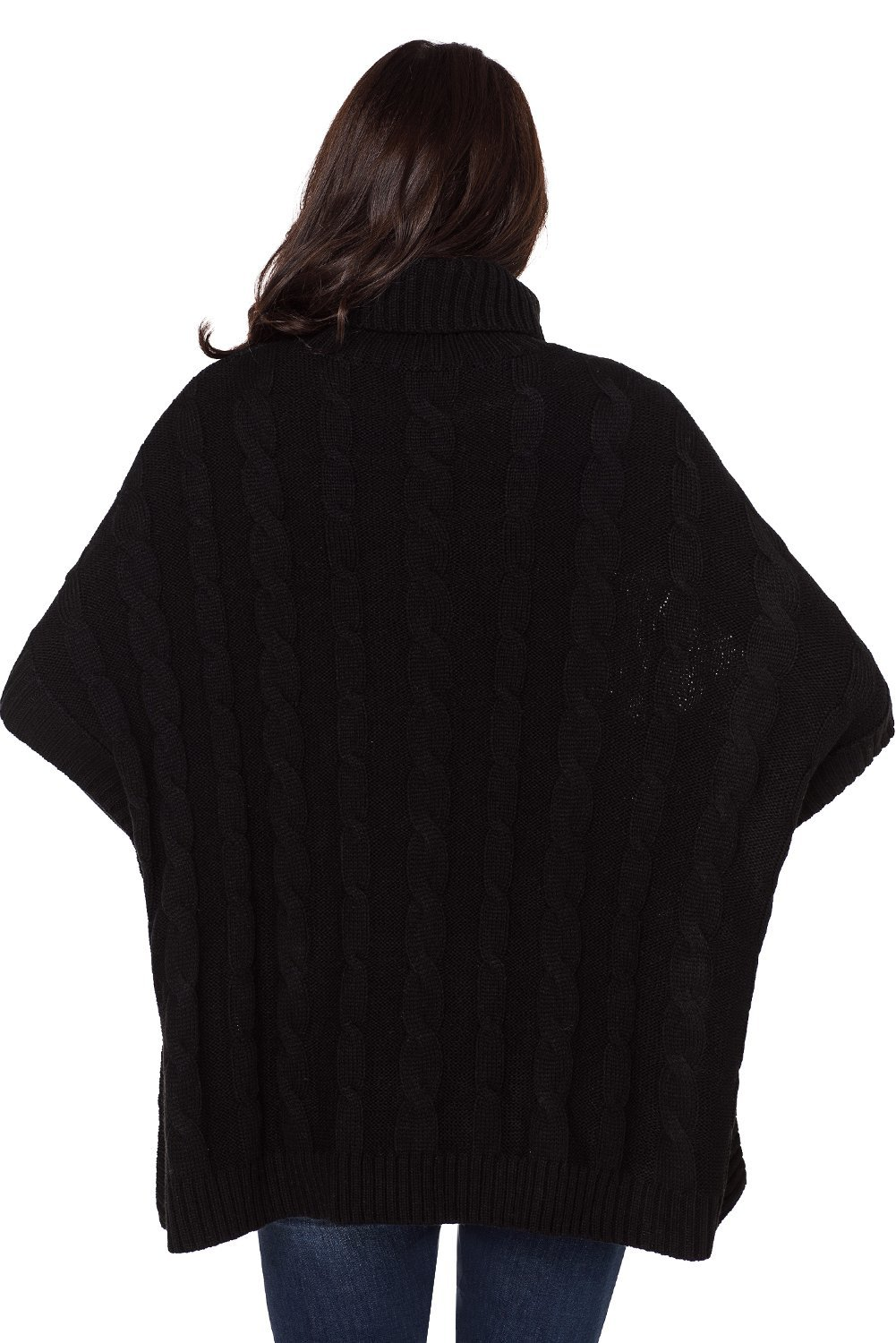 Elapsy Womens Ladies Knit Turtleneck Batwing Sleeve Casual Warm Pockets Style Tunic Poncho Pullover Sweater Oversize Black by Elapsy (Image #2)