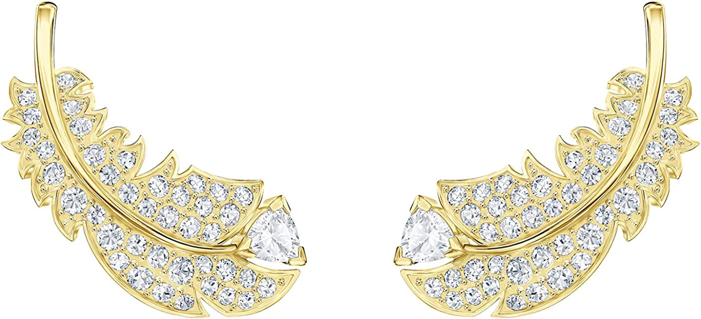 Pendientes de plumas bañados en oro con cristales de Swarovski