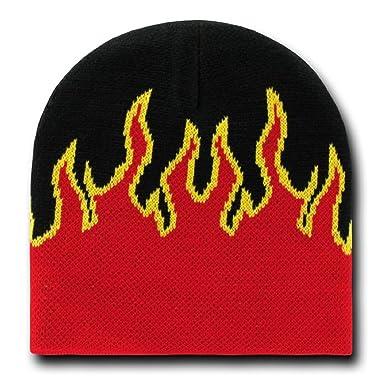 Decky Orgianl Fire Beanie - One Size - Black Red -  Amazon.co.uk ... 894dc4e8fcc
