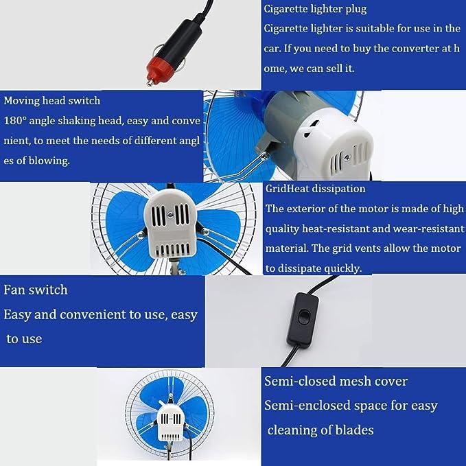 Ventilador universal de coche de 8 pulgadas con clips,Ventilador el/éctrico el/éctrico autom/ático el/éctrico de 12V caravana cami/ón 24V 180 /° ventilador silencioso semicerrado giratorio,Para SUV