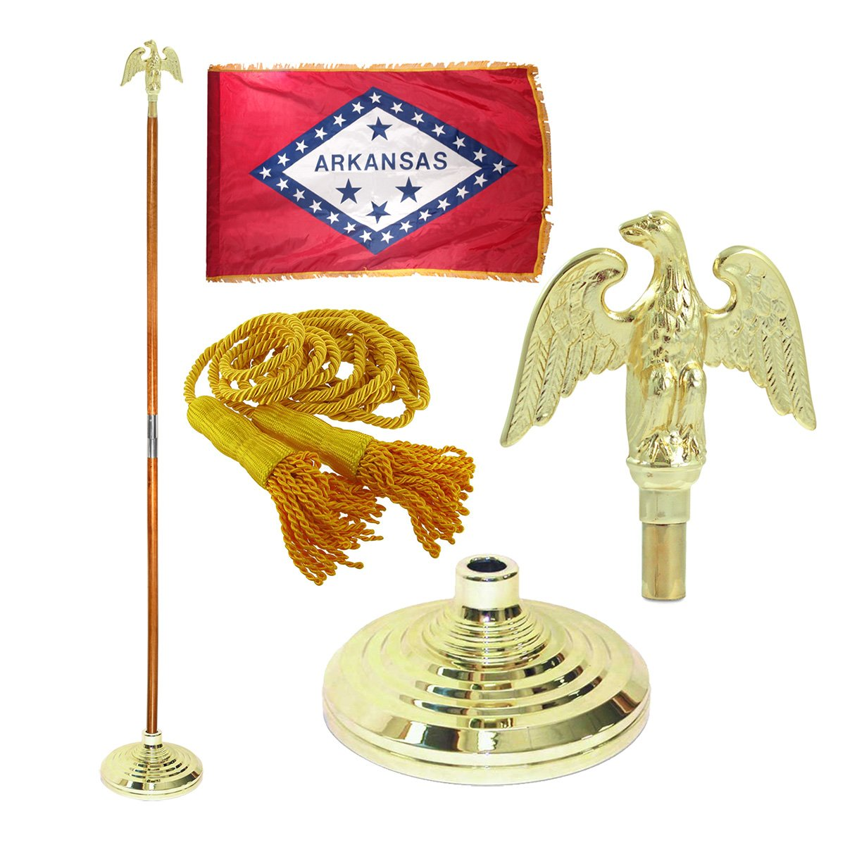 Arkansas 3ft x 5ft Flag, Flagpole, Base, and Tassel (Metal Eagle, 8 Ft Oak Pole)
