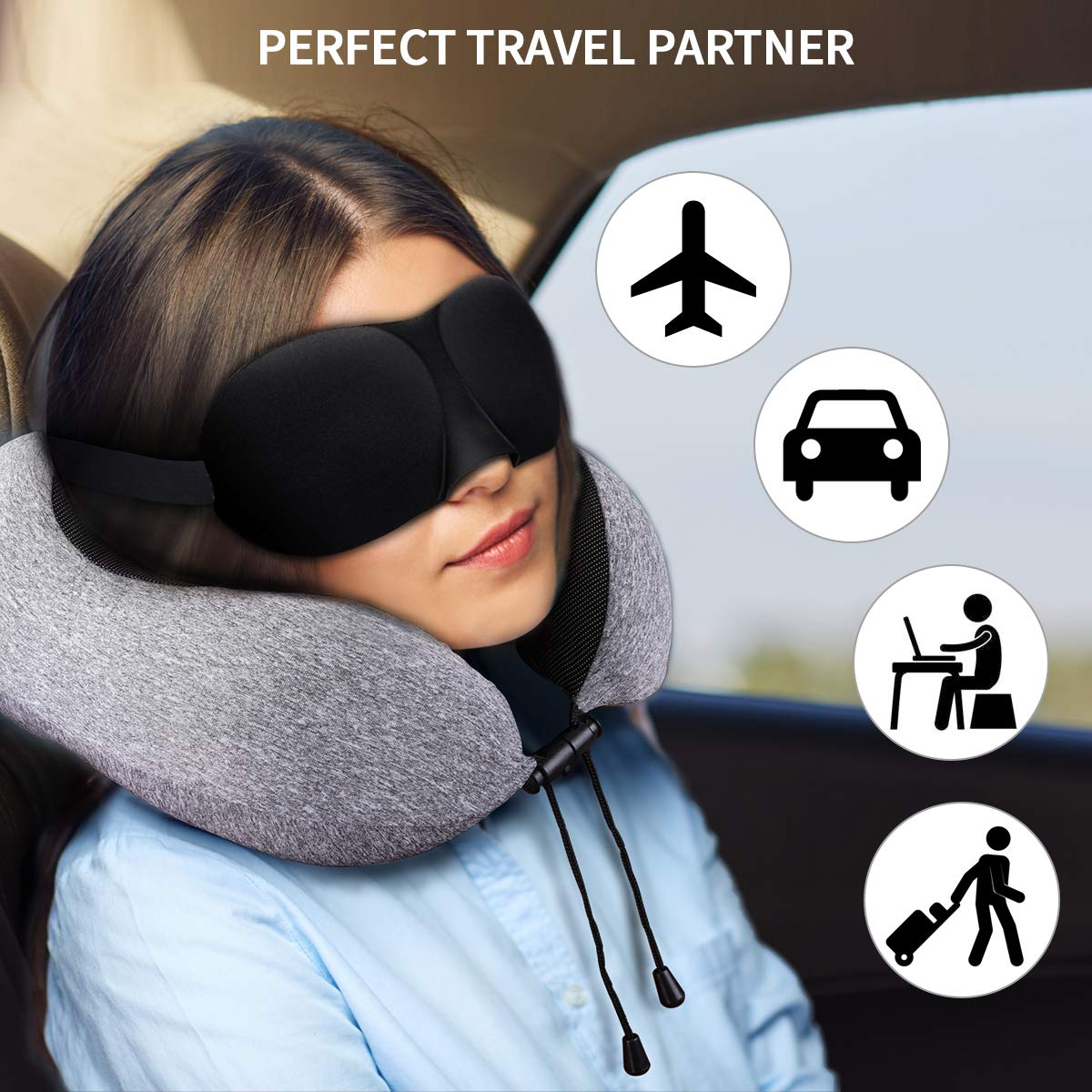 Keenstone Travel Pillow 100% Pure Memory Foam Neck Pillow, Comfortable & Breathable Cover - Machine Washable, Airplane Travel Kit with 3D Sleep Mask, Earplugs, and Luxury Bag