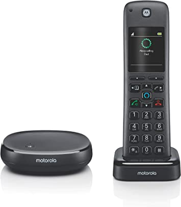 Amazon Com Motorola Axh01 Dect 6 0 Smart Cordless Phone And Answering Machine With Alexa Built In 1 Cordless Handset Included Office Products
