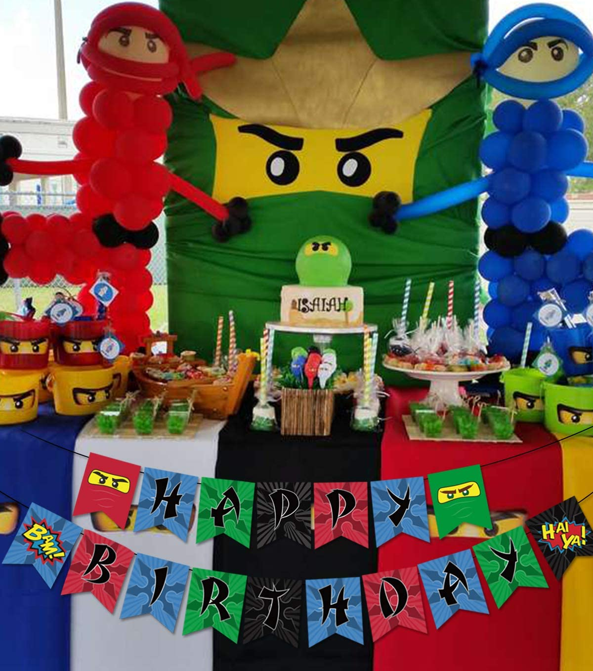 Ninja Happy Birthday Banner Birthday Party Decorations Ninja Party Supplies for Boys Ninja Warrior Party Supplies