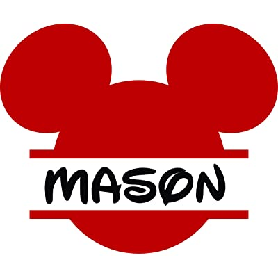 Personalized Girls Boys Name Signs - Name Wall Decal - Monogram Sticker - Mickey Mouse Decal- Cartoon Name Decal 20x20 Inches: Baby