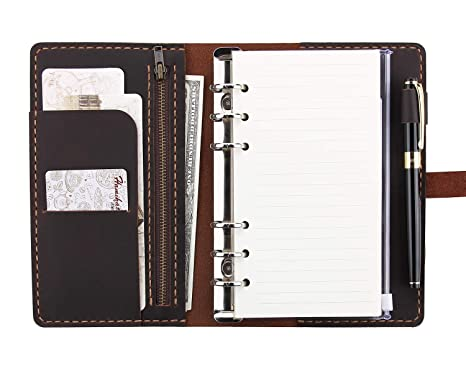 Refillable Leather Journal Writing Notebook, A6 Ring Binder Refillable Diary Notepads, Vintage Handmade Travel Organizer Agenda for Men Women - Coffee