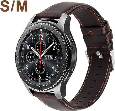 MroTech Compatible para Samsung Gear S3 Frontier/Classic/Galaxy Watch 46mm Pulseras de Repuesto para Huawei Watch GT 2 /GT Sport/Active/Elegant Correa Cuero Piel Banda de Reemplazo 22mm-Café Pequeño: Amazon.es: Electrónica