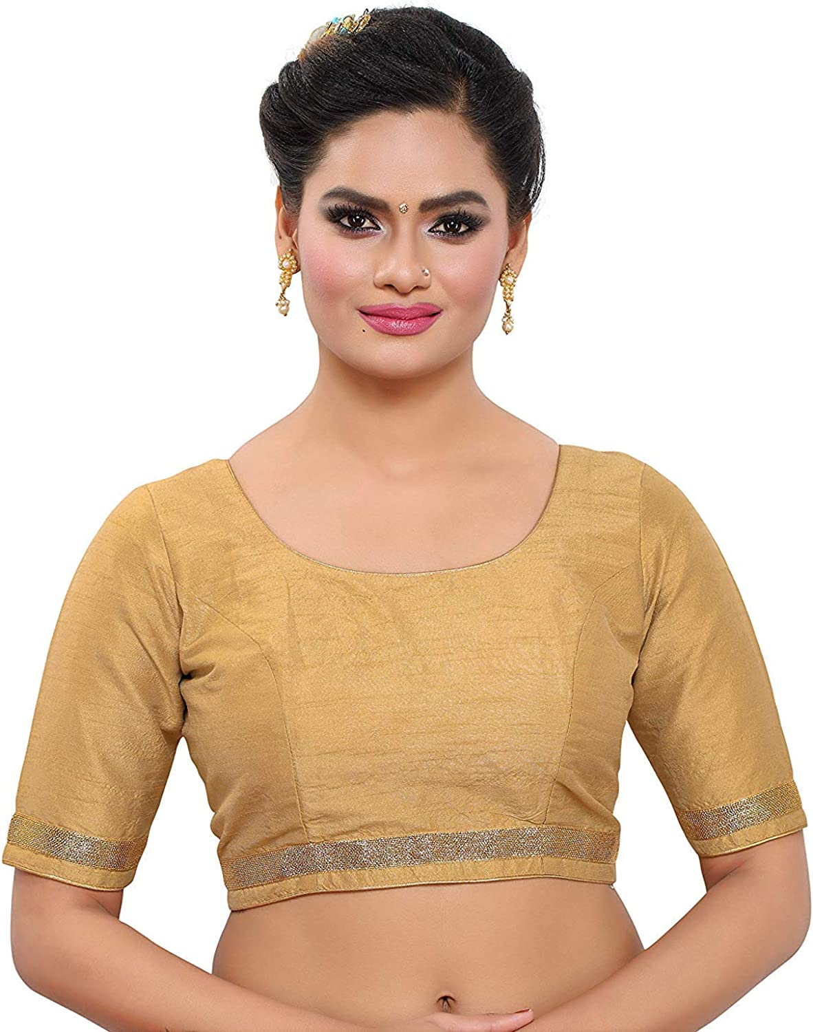 Black V neck and short roll up sleeves Silk Readymade Stitched Saree Blouse Tunic Crop Top Designer Women Indian Sari Choli Party Wear
