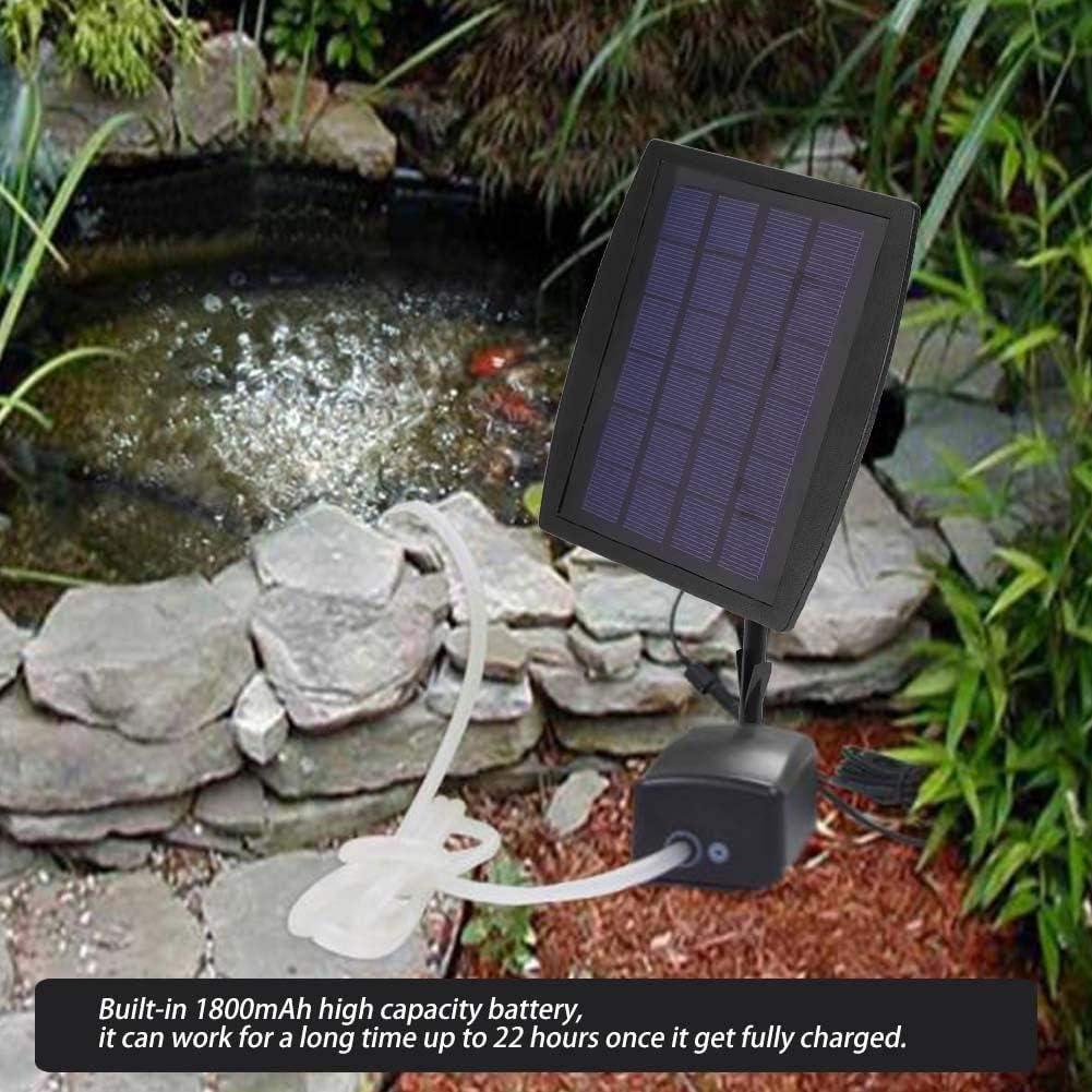 Pssopp Solar Powered Oxygen Pump Aquarium Air Pump Fish Tank Oxygen Aerator Oxygen Diffuser for Outdoor Pond Fish Tank Hydroponics