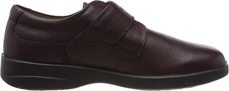 Padders AIR Mens Soft Real Leather Touch Fasten Bar Comfort Shoes Black F Fit