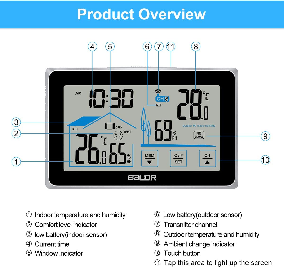 Wireless Weather Monitoring Digital LCD Touchscreen Clocks with Backlight Display/… Qomolo Weather Station Indoor Hygrometer Thermometer with Outdoor Temperature Humidity Sensor