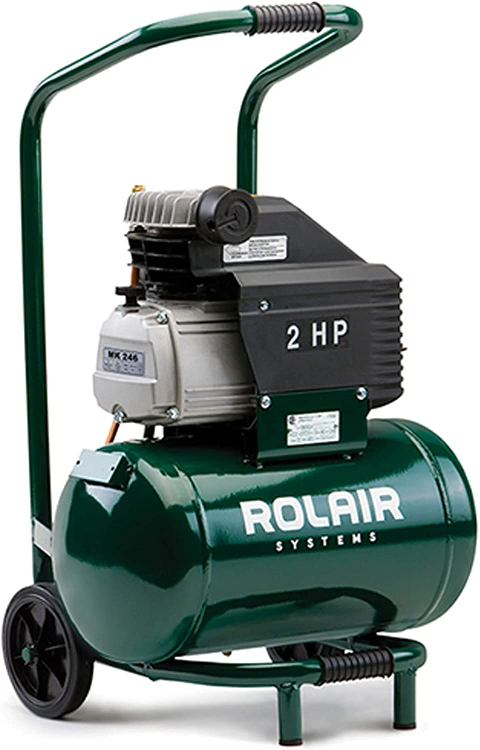 Rolair FC2002HBP6 2 HP Wheeled Compressor with Overload Protection and Manual Reset