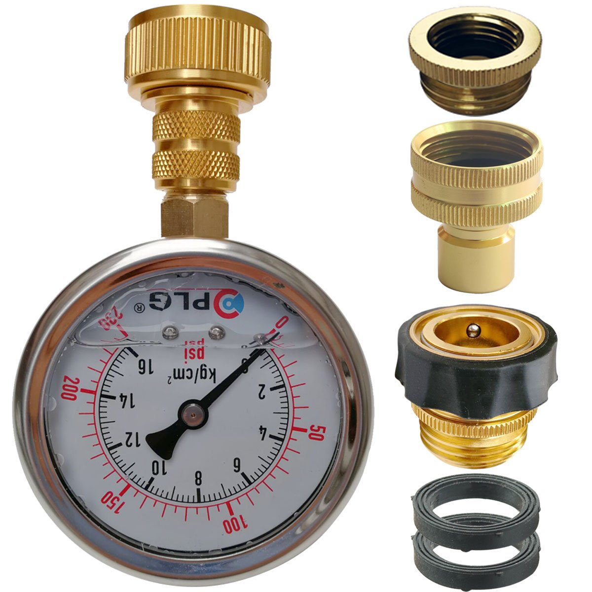 PLG Quick Connect/Disconnect Water Pressure Gauge Kit,2 in.Gauge w/Oil, 0 psi 230 psi,Push-Lock 3/4'' GHT Hose Connector,3/4'' to 1/2'' Spigot Adapters