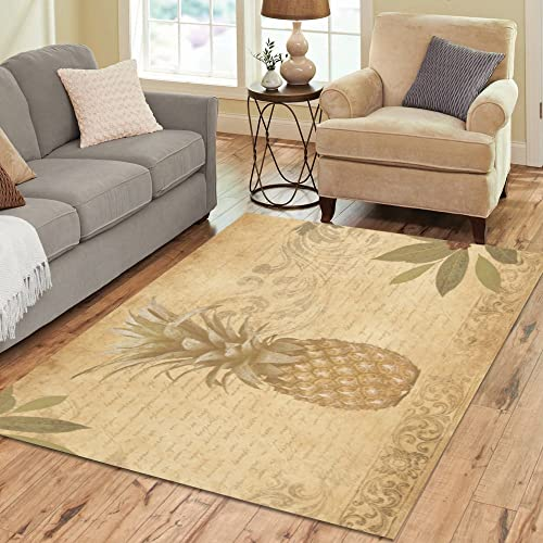 Love Nature Sweet Home Stores Collection Custom Pineapple Area Rug 7'x5' Indoor Soft Carpet
