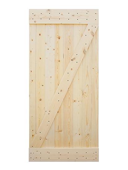 TMS 38u201d X 84u201d Solid Core Unfinished Plank Knotty Pine Barn Wood Sliding  Interior