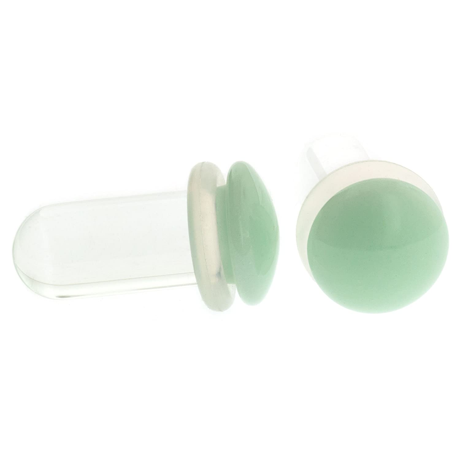 Pair of Mint Glass Single Flared Color Front Plugs