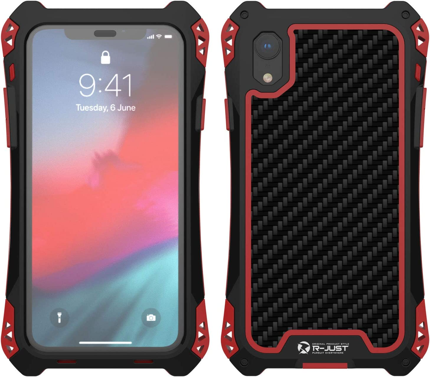 Simicoo iPhone Xs Max Aluminum Metal Bumper Military Heavy Duty Dual Layer Flexible Silicone TPU Carbon Fiber Rugged Hard Shockproof Case for iPhone Xs Max (Black/Red, iPhone Xs Max)