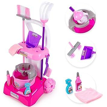Carro de limpieza con aspiradora en rosa Lavado carro juguete parte Cocina kp3600 carro de limpieza