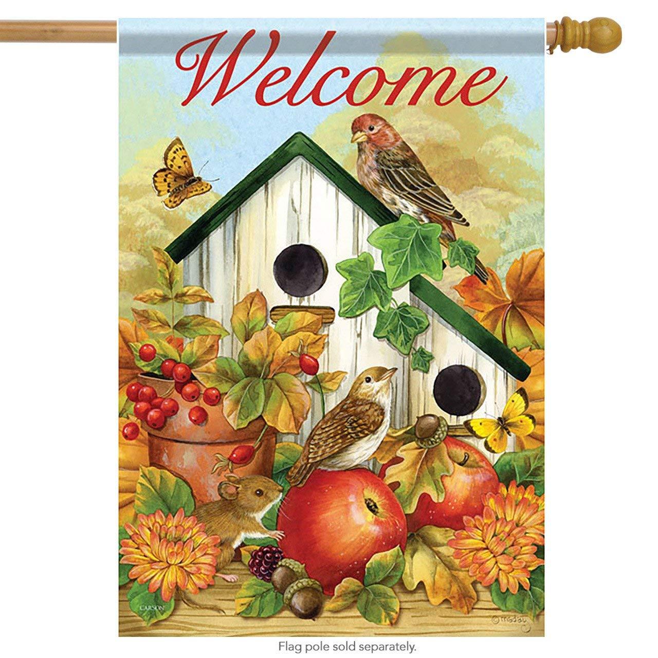 Bird Neighbors House Flag Fall Birdhouse Apple Butterfly Acorn 28  x 40  Carson