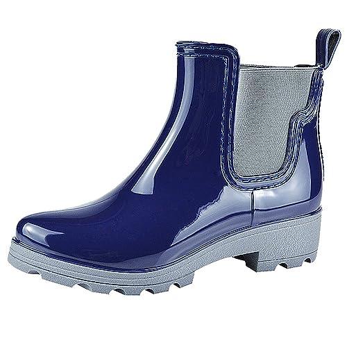 Jamrom Mujer Elegante Chelsea Botas Botas de Lluvia Nieve Tobillo Alto Talón Grueso Botas Wellington: Amazon.es: Zapatos y complementos