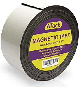 ATack Magnetic Tape Strip Roll, 2-Inch x 10-Foot, Self-Adhesive, Peel and Stick on Double-Sided Magnet Strips for Fridge, Crafts and DIY Projects