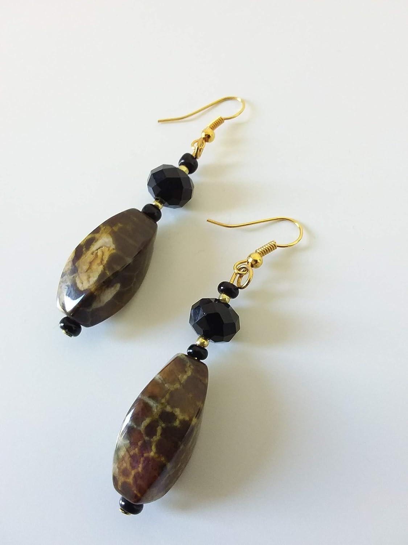 Pendientes de ágata de almizcle de piedra dura con colgante étnico, negro, marrón y dorado - idea de regalo de mujer - hecho a mano