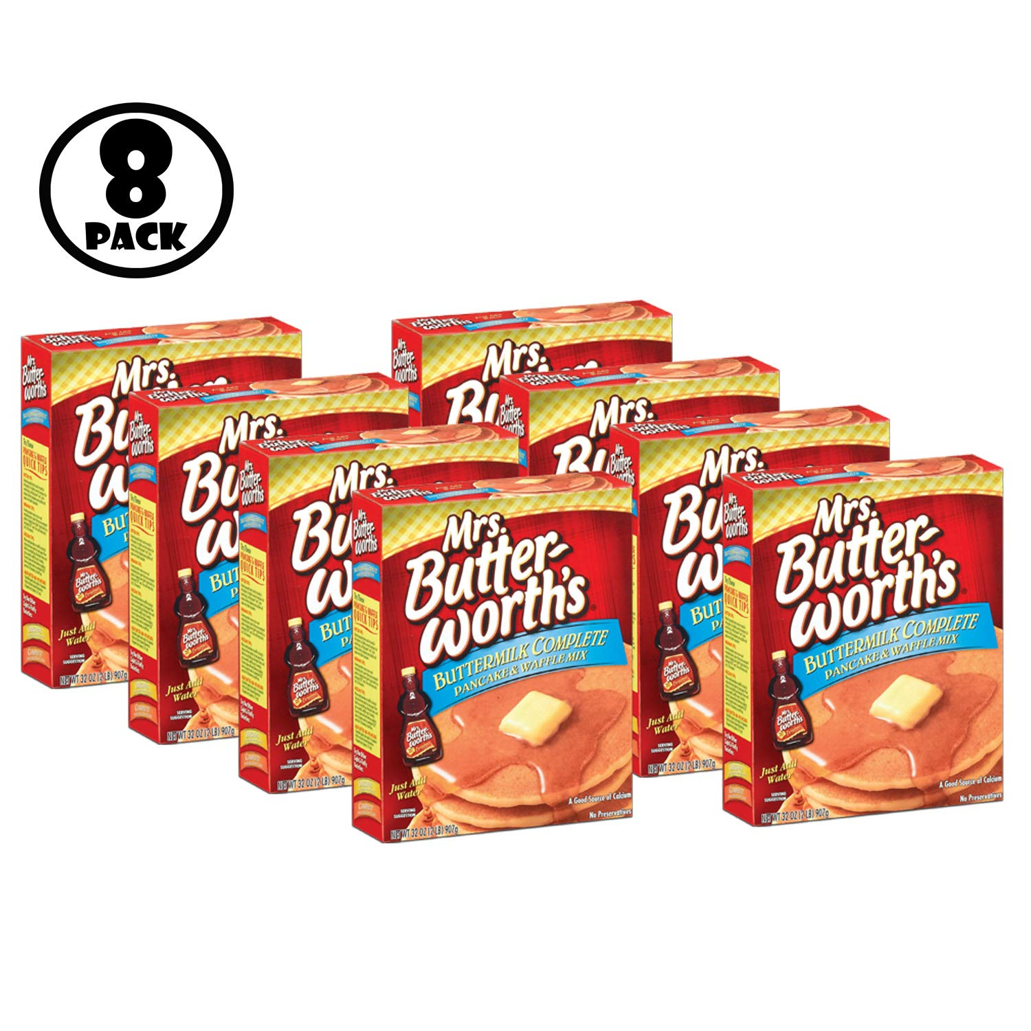 (Pack of 8) MRS. BUTTER-WORTH'S Buttermilk Complete Pancake & Waffle Mix, 32 oz