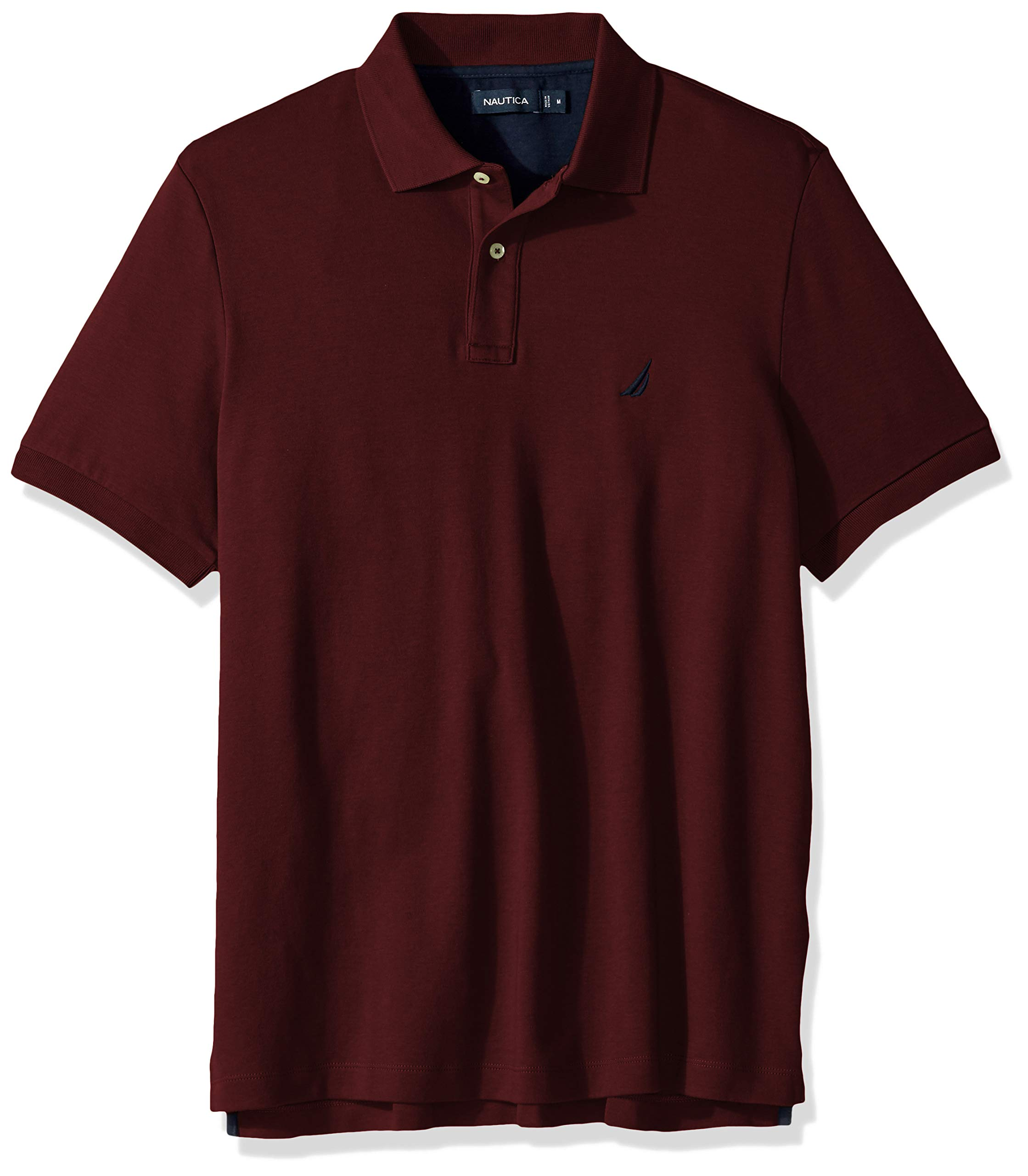 Nautica Men's Classic Fit Short Sleeve Solid Soft Cotton Polo Shirt, Royal Burgundy, 2X Big by Nautica