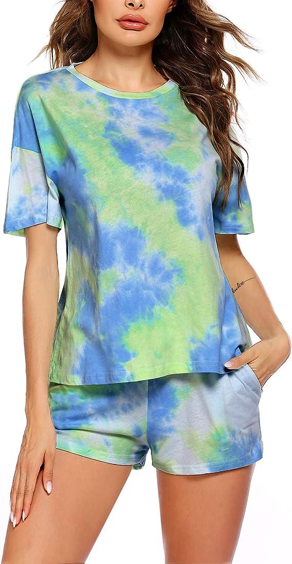 Unibelle - Pijama de manga corta para mujer, con cuello redondo, con patrón de tie-Dye, corto, verano, tallas XS-XXL