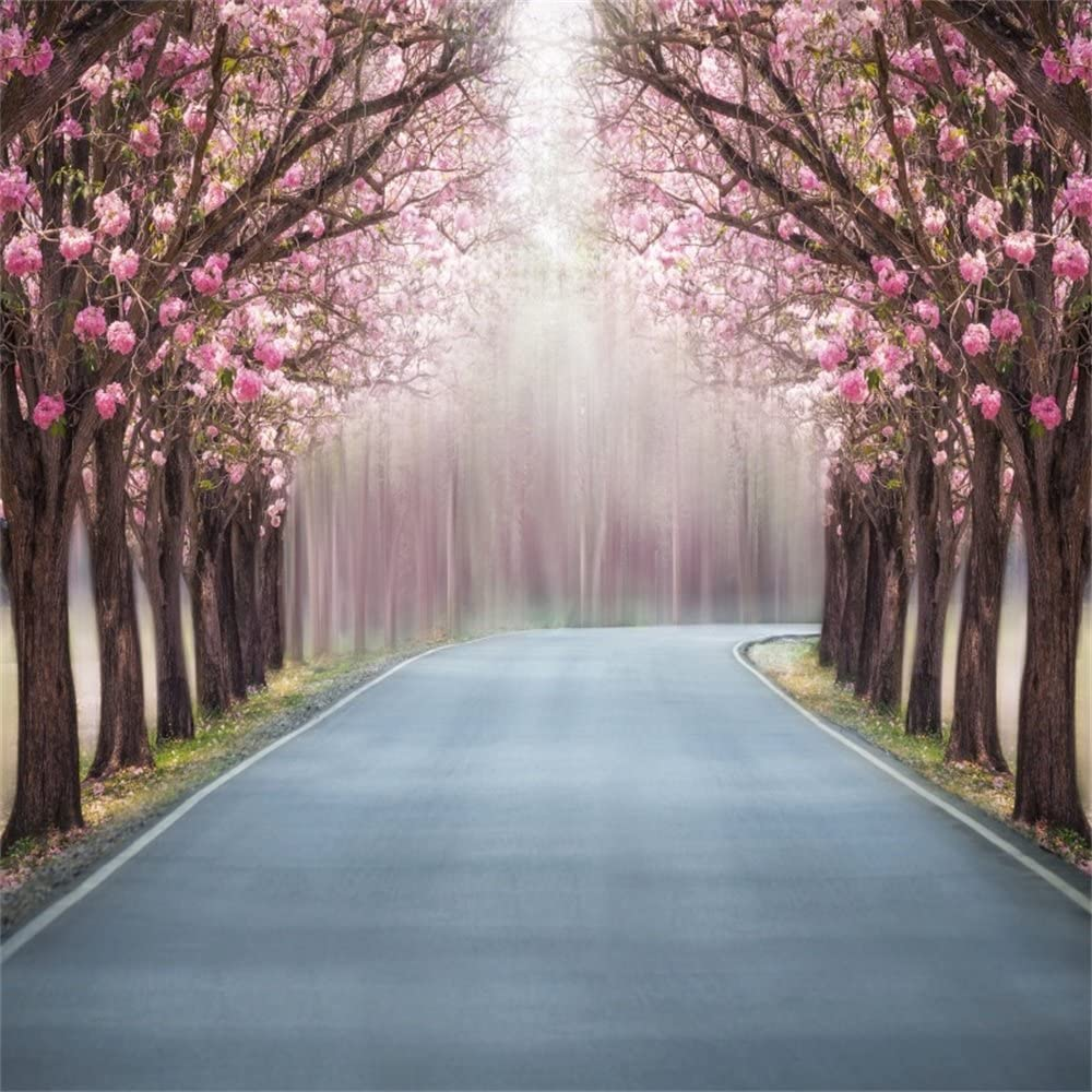 10x7ft Beautiful Spring Park Landscape Vinyl Photography Backdrop Blossom Trees Colorful Tulip Flowers Green Grassland River Background Holland Scenery Portraits Wedding Photo Studio