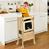 Toddler Standing Tower, Kitchen Step Stool for Kids, Foldable Learning Toddler Tower, Wooden Child Kitchen Stool Helper with