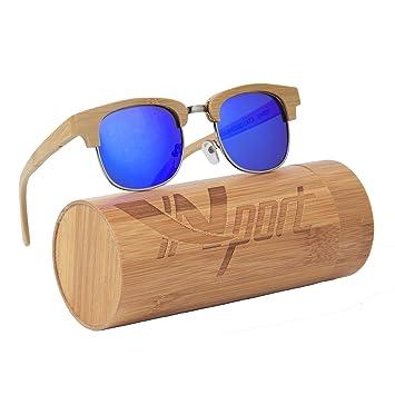 8950f282d2 Ynport Crefreak Bamboo Sunglasses Floating Handmade Half Frame Wooden  Lightweight Eyewear Glass With Gift Bamboo Box  Amazon.co.uk  Sports    Outdoors