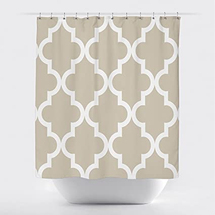 Studios Scalloped Shower Curtain Large White On Tan By Crystal Emotion