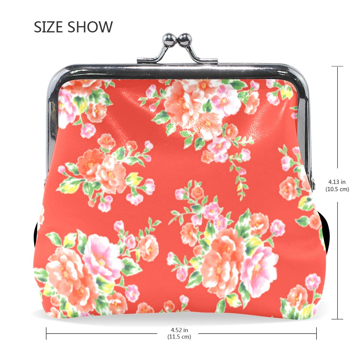Chinese Asia Floral Red Plaid Coin Purse Buckle Vintage PU Pouch Kiss-lock Wallet for Women Girl